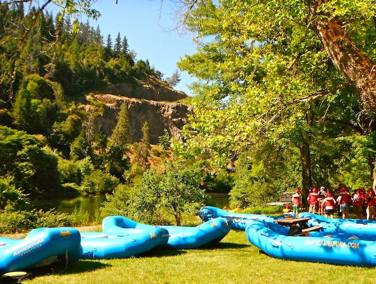 Rafts on the river