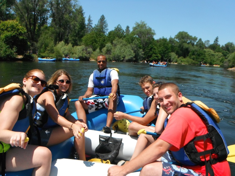 Our group of rafters on the river