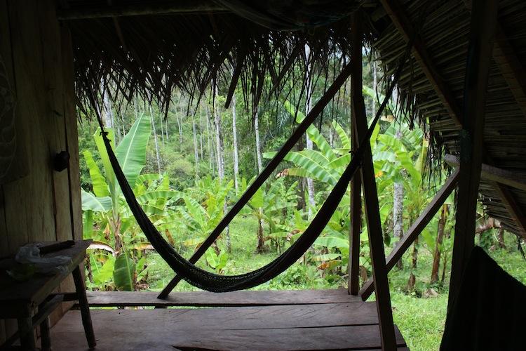 Hammock in a jungle hut
