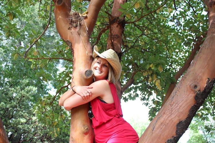 Hugging a tree at the last mystery winery