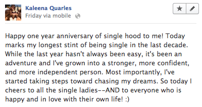 Facebook Status on Single Hood