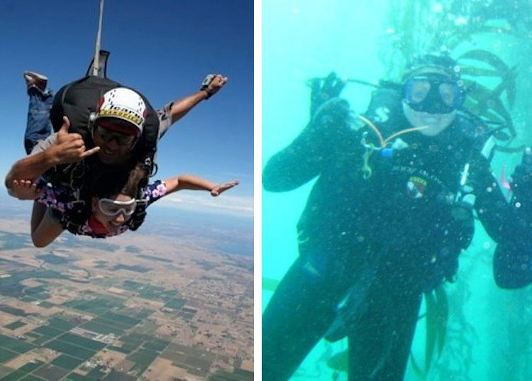 Skydiving and scuba diving