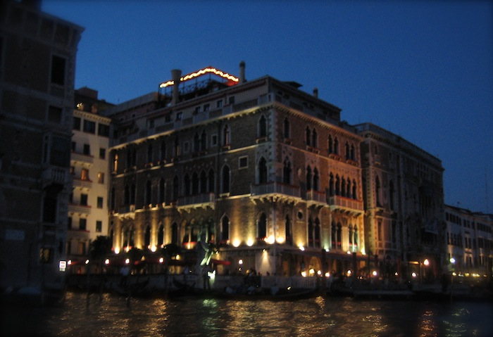 Buildings in Venice at night