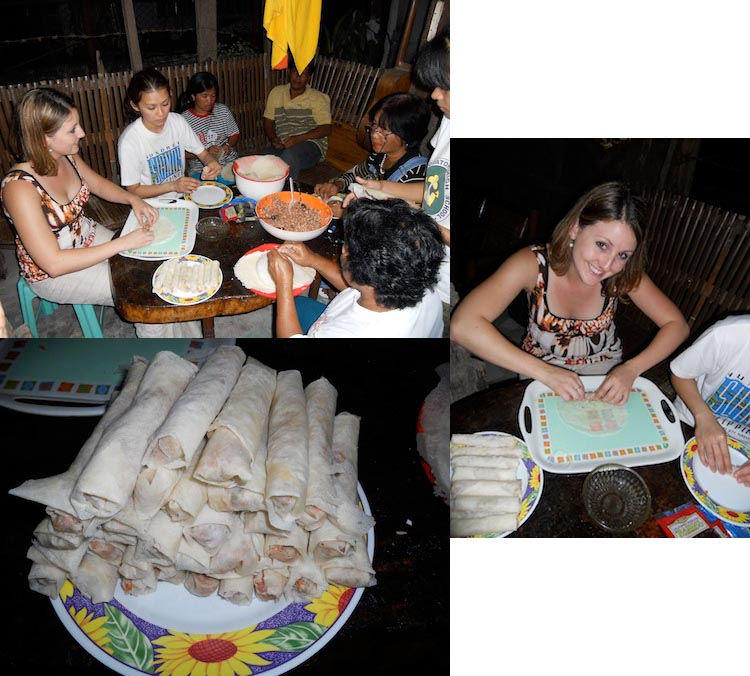 Making lumpia in the Philippines