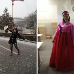 Snowflakes & hamboks in Korea