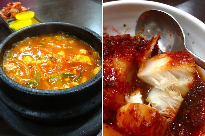 Kimchi jiggae and fish stew