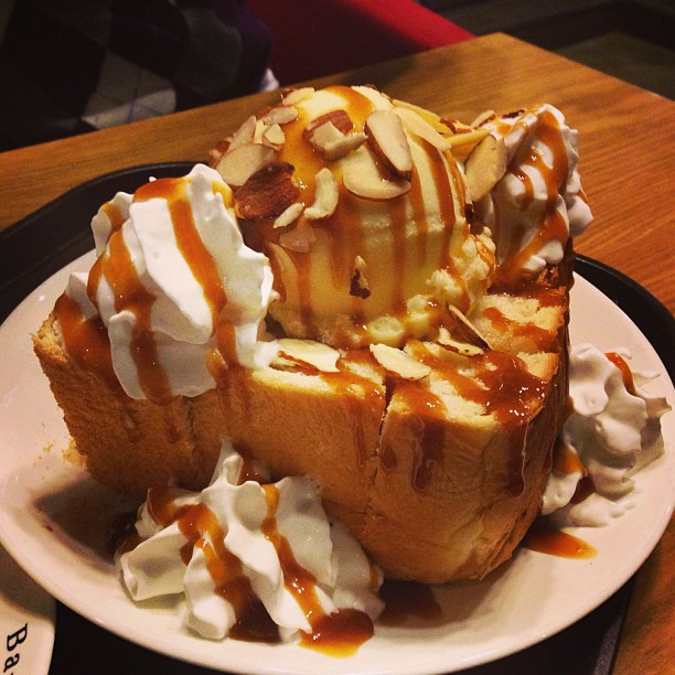 Delicious Honey Bread with ice cream in Korea