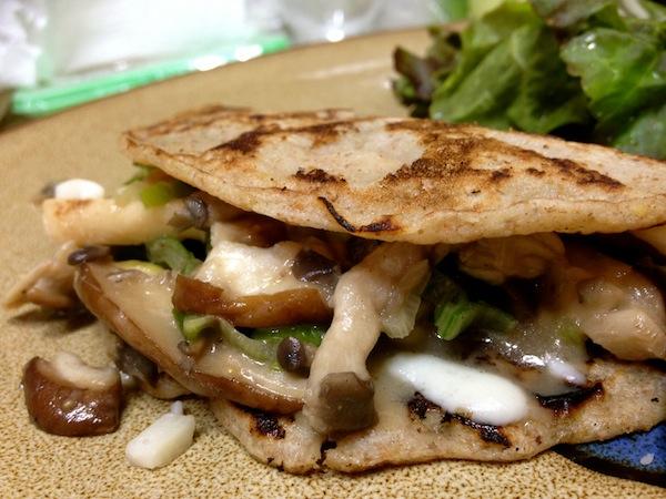 Mushroom and cheese buckwheat crepes
