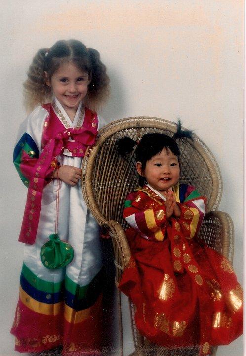 Sister and me in Korean hanboks