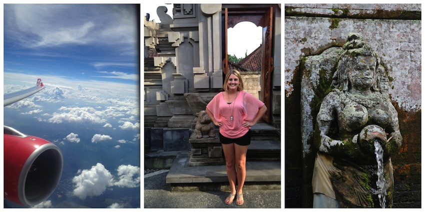 Scenes from Bali; plane, temple, fountain