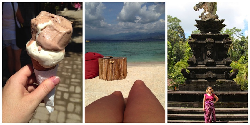 Scenes from Bali; gelato, beach, temple