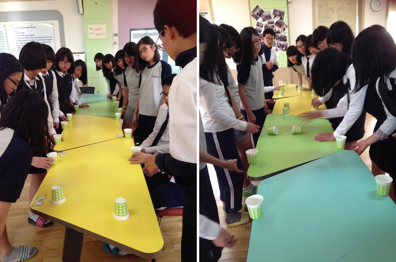 Korean students playing flip cup