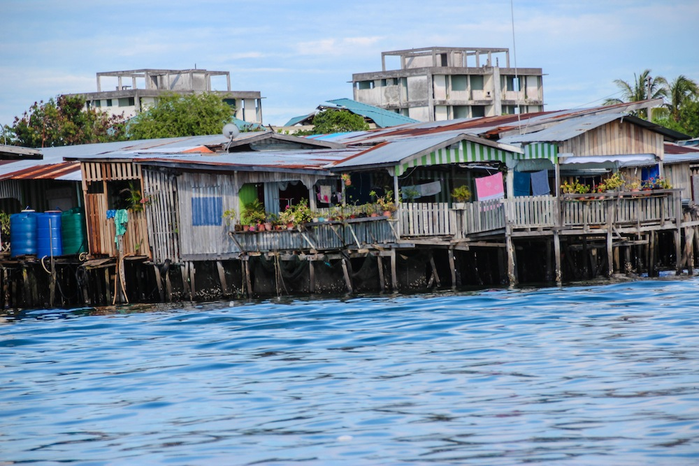 Houses on stilts in ocean Semporna Borneo