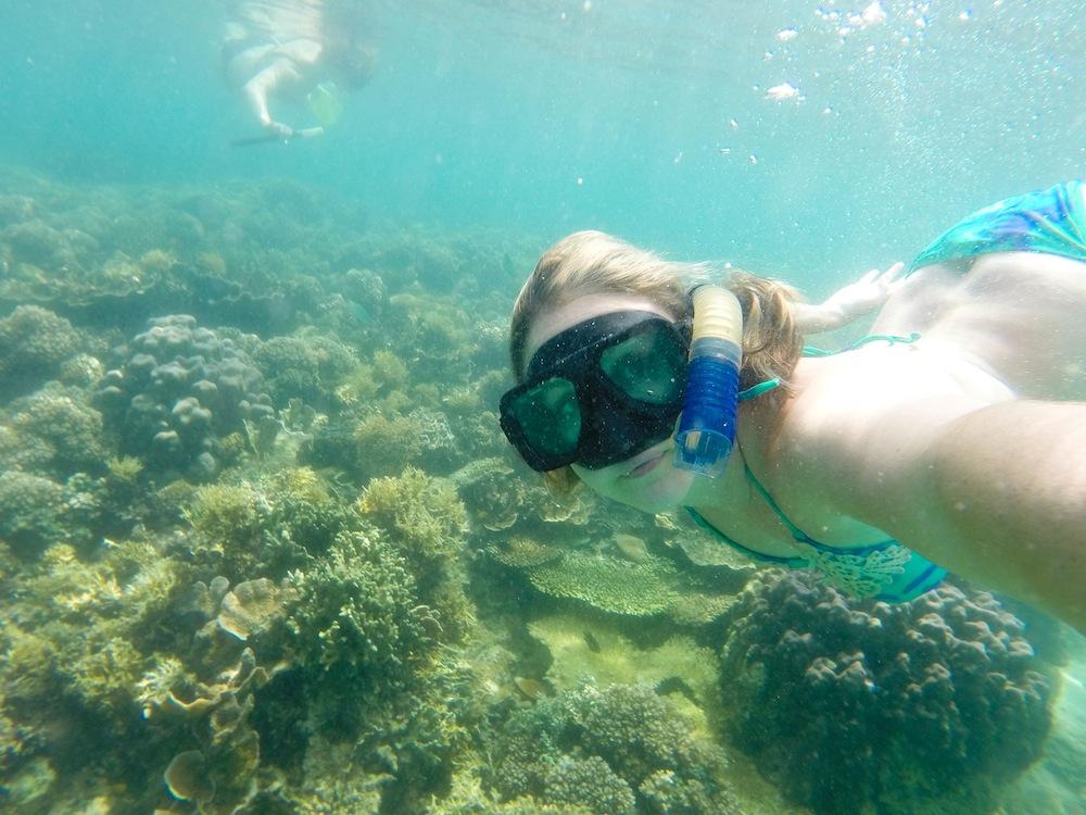 Solo Female Backpacker Snorkeling Selfie