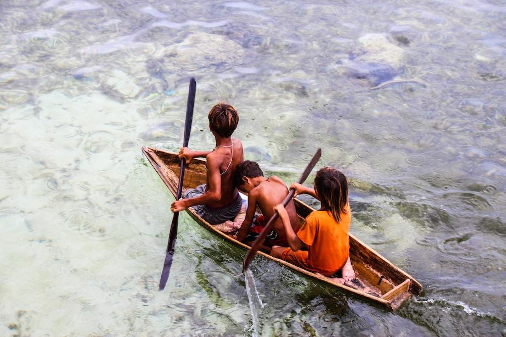 Sea gypsies children Mabul Borneo