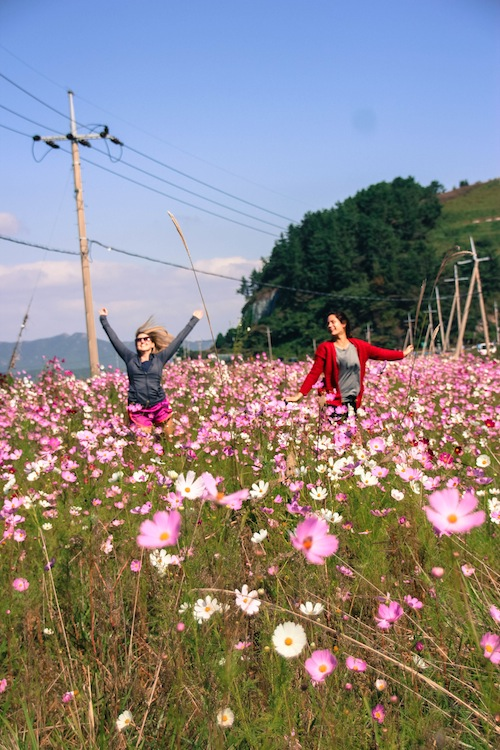 Running in a flower field