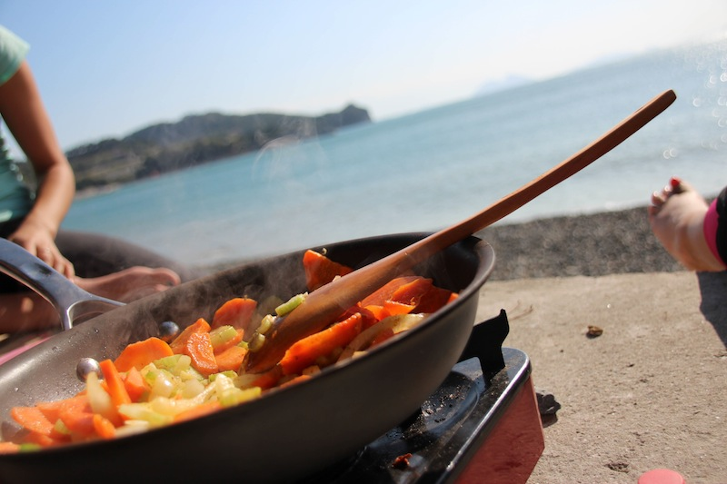 Camp cooking by the ocean
