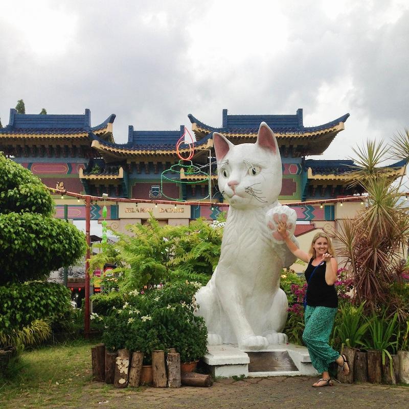 Cat statue in Kuching Borneo