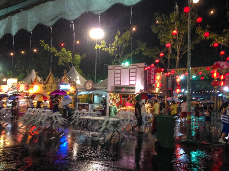 Raining at night market in Kuching Borneo