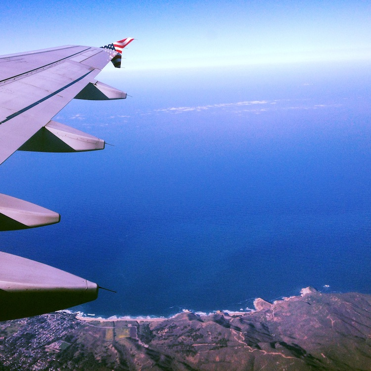 Airplane wing over San Francisco