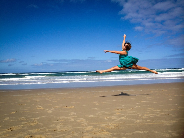 ballet leap on beach australia sunshine coast