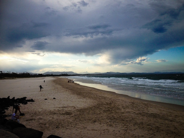 Byron Bay beach cloudy sky