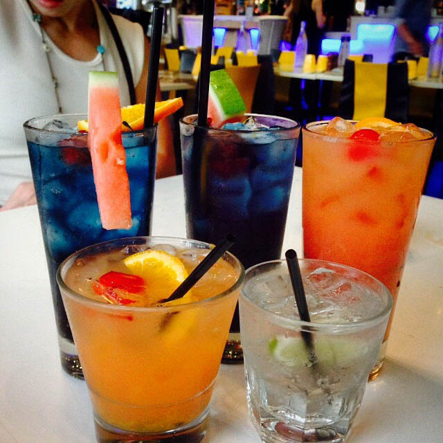 happy hour colorful drinks