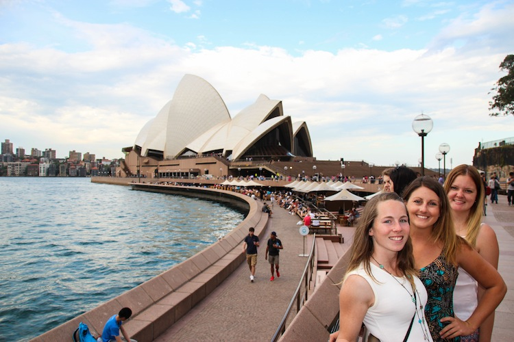 friends in front of sydney opera house