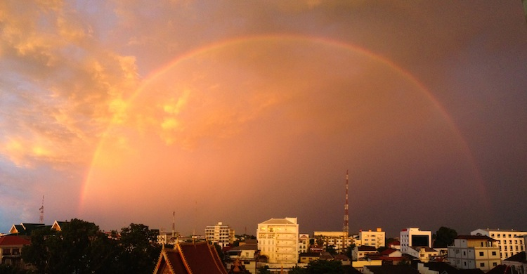 rainbow over Vientiane Laos