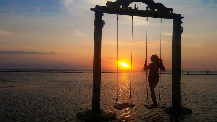 Gili Island swing sunset