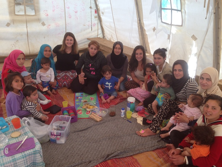 volunteering at a refugee camp
